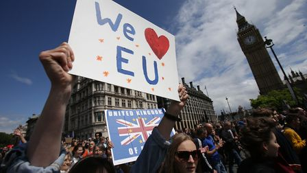 Remain supporters demonstrate during the March for Europe rally Picture: PA