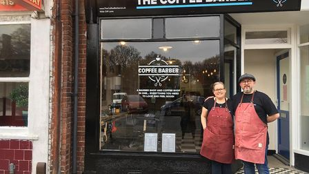 Daren Wayland and Mishel Wayland have opened the Coffee Barber shop in Cliff Lane, Ipswich Picture: