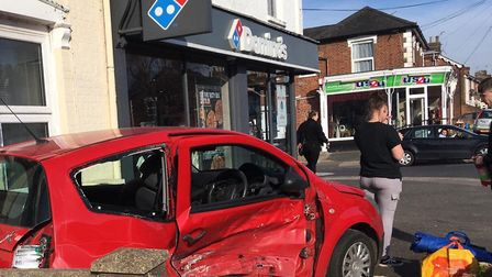 Police are at the scene of a crash in Felixstowe Road Picture: ARCHANT
