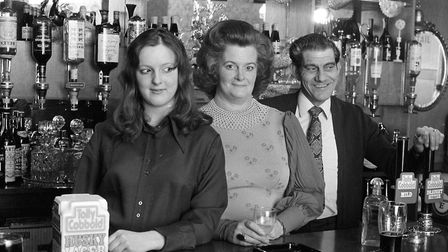 The bar staff ready to pull pints at the Ship Launch pub in 1974 Picture: ARCHANT