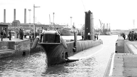 Military might ... HMS Opossum submarine pulling into Ipswich docks Picture: IVAN SMITH
