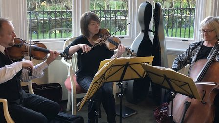 The �Champagne Trio� of Music in Felixstowe entertain at the official launch of the Felixstowe touri