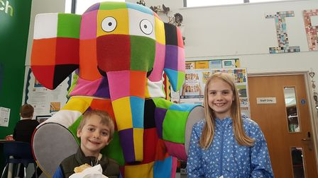 Elmer visits Gainsborough Community Library in Ipswich as part of their Elmer Day celebrations Pictu