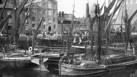 A busy day in the tidal St. Peter�s dock. This photograph was taken from the south side of the old i