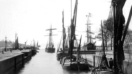 Barges sailing through the lock in the 1890s. Picture: IPSWICH MARITIME TRUST ARCHIVE