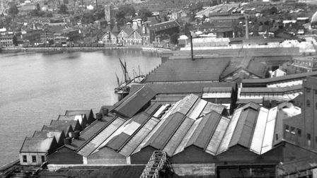 A view across some of the roof tops of Ransomes Sims and Jefferies Orwell works from the gas works a