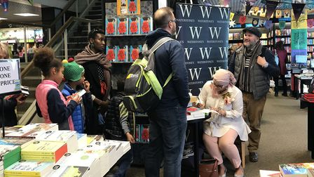 Onjali Rauf met adults and children as she signed her award-winning book at Ipswich Waterstones. Pic