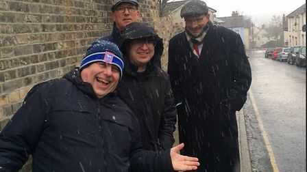 Snow didn't stop MP Sandy Martin (right) and Labour councillors campaigning today in Ipswich. Pictur