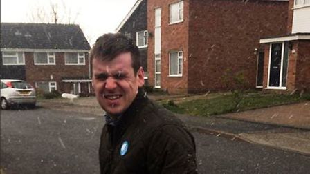 Ipswich Conservative candidate Tom Hunt was also caught out by the snow while campaigning in the tow