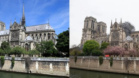 Notre Dame Cathedral (left) seen across the River Seine in Paris and how it looked on Tuesday follow