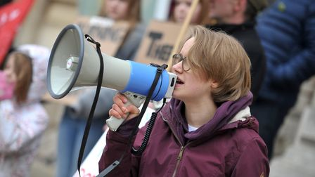 Organiser of the protest, 17-year-old Thea Pettitt Picture: SARAH LUCY BROWN