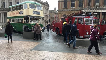 Exhibits from Ipswich Transport Museum were on display on the Cornhill. Picture: PAUL GEATER