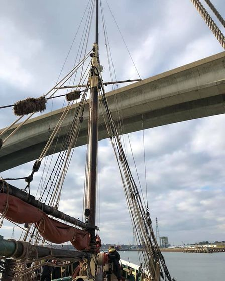 Historic sailing smack Excelsior approaching the Orwell Bridge - but it wasn't as tight a fit as th