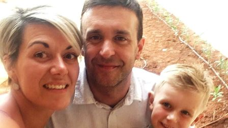 Becky, Peter and Ollie Mazur before Peter was taken ill on Cape Verde. Picture; BECKY MAZUR