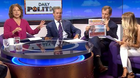 Alastair Campbell irks BBC and Nigel Farage by brandishing a copy of The New European in live broadc
