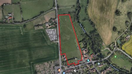 Land eyed for 54 homes in Sproughton by Hopkins Homes. Picture: GOOGLE MAPS
