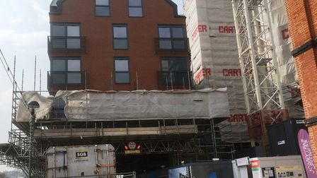 The wraps are coming off the front building, over the quayside, in the Winerack development. Pictur