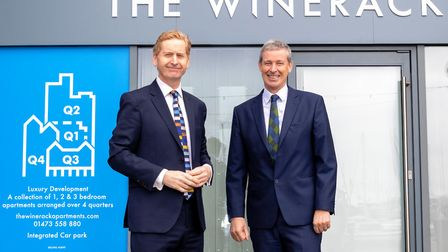 Winerack sales office is now open. John Howard and Jeremy Scowsill at the Waterfront development Pi
