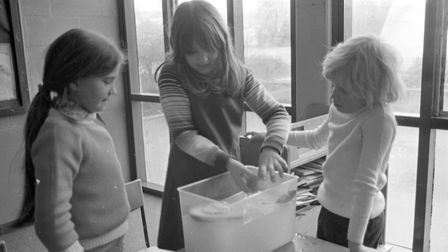 Girls having fun in a practical science lesson Picture: ARCHANT