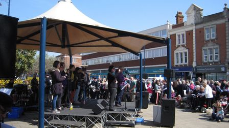 The Good Friday service on the Triangle at Felixstowe Picture: SUSAN HOCKENHULL