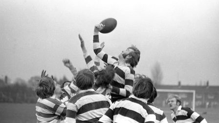 Players leap for the rugby ball Picture: JOHN KERR