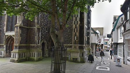 The incident happened near St Lawrence Church in Ipswich town centre Picture: GOOGLE MAPS