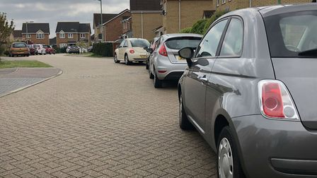 While the houses have driveways, almost all of the cars parked in the narrow Ipswich cul-de-sac belo