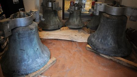 The historic bells of St Lawrence after restoration. Now back in the bell tower they ring out on Wed