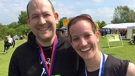 The pair ran a number of races together before Angela was diagnosed with breast cancer. Picture: CHR