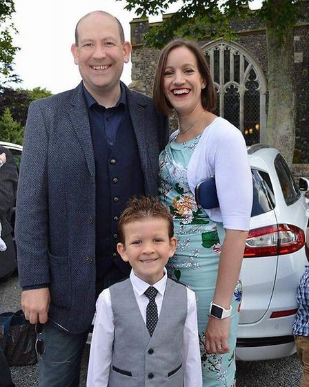 Chris and Angela with their 9-year-old son Jack. Picture: CHRIS ROSE