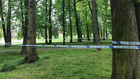 The police cordon set up around Christchurch Park after a teenager was stabbed Picture: ARCHANT