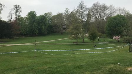 The police cordon set up around Christchurch Park after a 15-year-old was stabbed in the leg Pictur