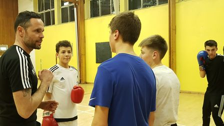 Martin Cherington talks to members of Ipswich Boxing Club at the Murrayside Centre Picture: RACHEL
