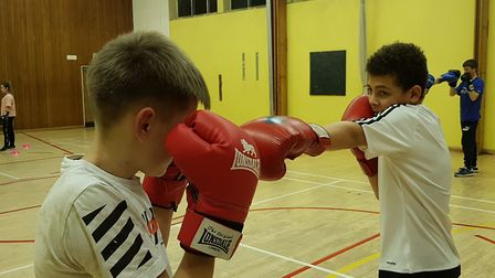 Two young members of Ipswich Boxing Club sparring at the Murrayside Centre Picture: RACHEL EDGE