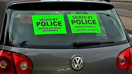 The Volkswagen Golf seized by police after a driver attempted to produce a fraudulent licence. Pictu