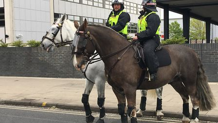 City of London mounted officers were watching on as Ipswich Town fans and Leeds United Fans arrived
