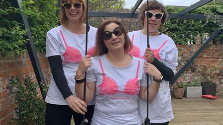 Team Titswich are taking part in the London MoonWalk to raise money for breast cancer. Pictured are