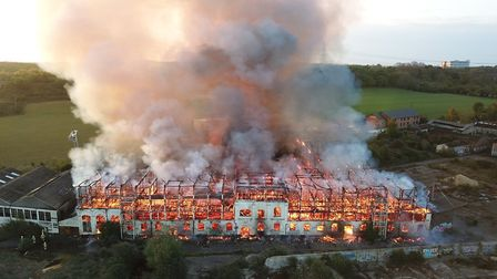 Dramatic aerial photo showing the scale of the fire at the former Fisons site in Bramford Picture: S