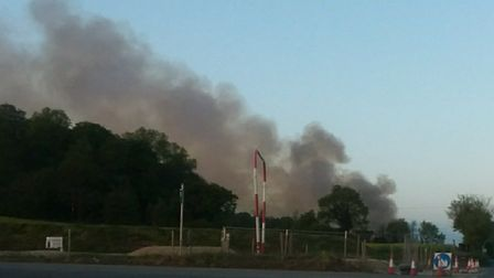 The fire at the old Fisons site in Paper Mill Lane. Picture: NORFOLK AND SUFFOLK ROADS AND ARMED POL