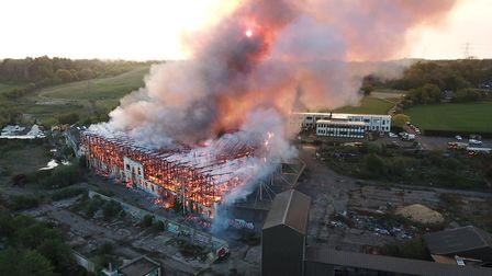 The old Fisons site went up in flames early on Monday morning Picture: SKY CAM EAST