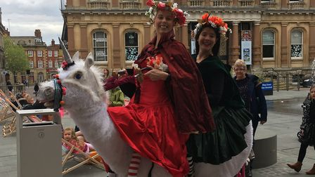 Did you see the unicorn and its riders in Ipswich town centre today? Picture: ARCHANT