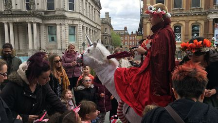 The unicorn was keen to meet children from Ipswich enjoying their Bank Holiday Picture: ARCHANT