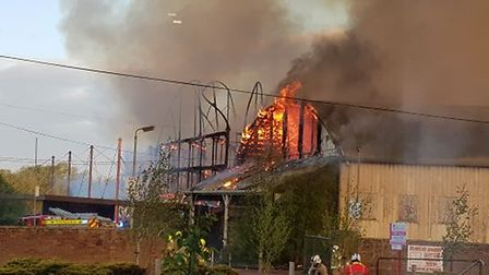The fire engulfing the Fisons site early on May 6 Picture: AILSA REID