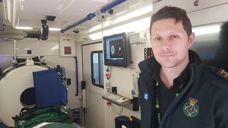 Dan Phillips, clinical lead for the ambulance service, on board the mobile stroke unit. Picture: RA