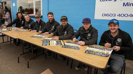 Witches riders pictured during a poster signing session ahead of the King's Lynn meeting. Picture