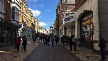 Shoppers in Ipswich town centre on Saturday afternoon. Picture:SUZANNE DAY