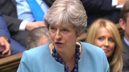 Theresa May speaks during Prime Minister's Questions Photo: PA