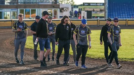 Witches riders and officials on a pre-meeting track walk ahead of the Peterborough v Ipswich meeting