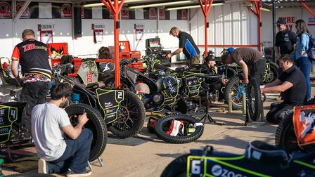 Bike preparation in the Witches side of the pits ahead of the Peterborough v Ipswich meeting. Pic