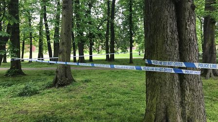 The police cordon set up around Christchurch Park after a teenager was stabbed shortly after 6pm on